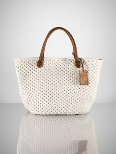 Cotton Crochet Tote, Ralph Lauren