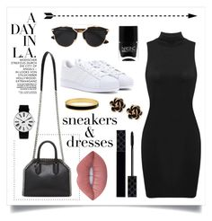 """""""#SneakersandDresses """" by ashleeyneeo on Polyvore featuring adidas, STELLA McCARTNEY, Rosendahl, Christian Dior, Nails Inc., Halcyon Days, Gucci, Lime Crime, Chantecler and black"""