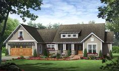Bungalow Style House Plans - 1800 Square Foot Home , 1 Story, 3 Bedroom and 2 Bath, 2 Garage Stalls by Monster House Plans - Plan 2-268