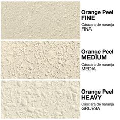 types of texture: orange peel, knockdown, popcorn, splatter coat, skip trowel, swirl coat, stipple