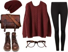 Burgundy Beanie / Oversized Sweater / Black Leggings / Brown Boots