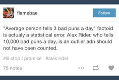 Bad puns; Alex Rider; tumblr