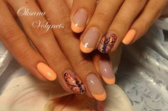 Beautiful melon themed butterfly nail art. The French tips are in melon polish and the butterfly is painted covering the entire nail on top of a clear polish.
