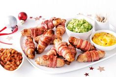 Pigs in blankets with three dipping sauces