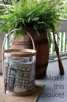 wire basket....made from chicken wire, hardware cloth, and an old peach basket....