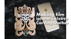 Making film iphone 6 sleeve wallet case carving leather