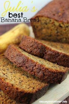 Julia's Best Banana Bread from Julia's Banana Bread Treehouse in Hawaii. Julia's Best Banana Bread from Julia's Banana Bread Treehouse in Hawaii. Easy Banana Bread, Banana Bread Recipes, Cake Recipes, Dessert Recipes, Quick Bread, French Toast Waffles, Muffins, Brunch, Healthy Recipes