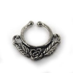 FAKE FAUX SEPTUM RING - Model F21 rose leaf -  US $16.99 - New, never worn - silver-plated ornate brass