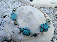 Turtle Bracelet Turquoise Bracelet Beaded by MermaidxMetal on Etsy