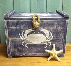 Crab Crate Navy Blue Trunk Chest Box By CastawaysHall Nautical Beach House Decor - READY To Ship on Etsy, $95.00