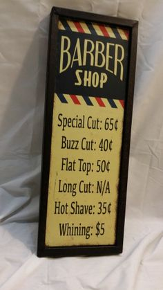 New Barber Shop Vintage Look Metal sign Looks Old Heavy Guage Frame Style Hangs http://stores.ebay.com/clockworkalpha/