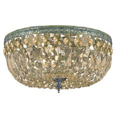 Worldwide Lighting Empire Collection 3 Light Chrome Finish and Clear Crystal Flush Mount Ceiling Light 8 D x 8 H Round Small W33008C8