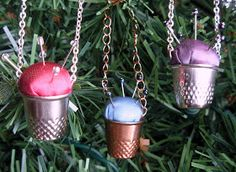 Mad Hatter's Thimble Pin-Cushion Ornaments #Christmas