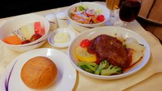 https://flic.kr/p/HGLaiT | Business Class In-flight Meal - China Airlines | REFRESHMENT  Fusion Cuisine  Smoked chicken salad with Italian dressing  Beef tenderloin in red wine onion sauce with boiled potatoes and parsley butter  Soft multigrain bread with butter    Seasonal fresh fruits  Champagne - Lété-Vautrain Brut, NV, France  Red Wine - Conti Serristori Chianti Classico 2008, Italy  CI518 PEK-TPE