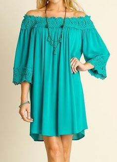 Leave Me Speechless Blue Off-The-Shoulder Lace Swing Dress