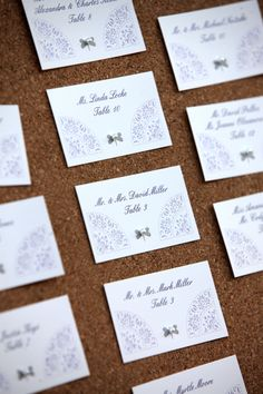 Lavender and Lace escort cards, photography by sandiforaci