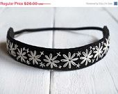 BUY EARLY SALE Black and Ivory Hand Embroidered Headband