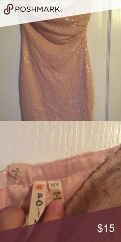 Pink sequined dress Pink sequenced strapless dress worn once Dresses Mini