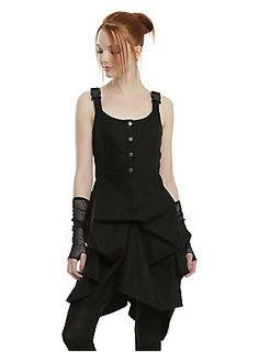 <div>Get ready to soar in this dress from <i>Star Wars Rogue One</i>. The black utilitarian dress is designed after a pilot's harness, hence the plastic buckle and crossback straps. The tank dress features burnished silver Rebel Alliance branded buttons, so you never forget which side you're fighting for. Ribbed side panels and a pick-up skirt give the dress texture and dimension and add a little bit of fashion to an otherwise simple design. Side zipper closure.</div><div><ul><li style...