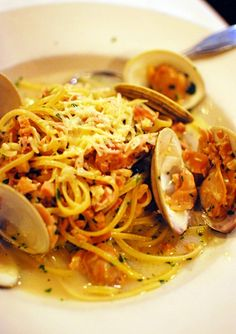seafood pasta with white wine sauce.