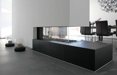 Fireplace design - Weber and partners- Kamin Design – Weber und Partner Fireplace design – Weber and partners - Fireplace Kits, Living Room With Fireplace, Fireplace Design, Best Dining Room Colors, Modern Outdoor Fireplace, Dining Room Wall Decor, Home Bedroom, Sweet Home, Building A House
