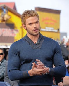"""Pin for Later: 14 Celebs Who Can't Contain Their Muscles Kellan Lutz once wore this sweater, and it's probably still recovering from containing that much muscle. """"Please, just give me some space. Chris Pratt, Chris Evans, Kellan Lutz, Chris Hemsworth, Jamie Dornan, Ginger Men, Ginger Beard, Evolution Of Fashion, Pullover"""