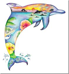 Limited Edition - Dolphin Dream II by Nora Butler , Naples I love it . Dolphin Drawing, Dolphin Painting, Dolphin Art, Animal Drawings, Art Drawings, Drawing Sketches, Tropical Artwork, Dolphins Tattoo, Berber