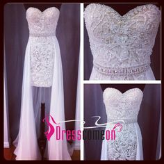 White A-line Tulle Lace Long Prom Dress, Detachable Formal Dressses