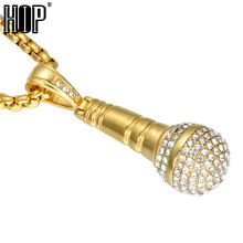 US $8.53 HIP Hop Gold Color Titanium Stainless Steel Ice Out Bling Music Stereoscopic Microphone Pendant Necklace for Men Jewelry. Aliexpress product