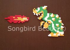Bowser and flame, Mario Bros, geekery, video games, perler beads on Etsy, $10.00 #Bowser #Mario #Perler Check out my store: www.etsy.com/shop/songbirdbeauty