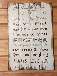 "Husband and Wife Wedding Sign I promise to 14""w x 21""h hand-painted wood  sign"