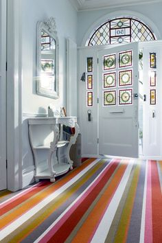 Carpet Cool - Hallway Decorating Ideas & Home Accessories Living Room Carpet, Bedroom Carpet, Hallway Carpet, Striped Carpets, Striped Carpet Stairs, Striped Rug, Patterned Carpet, Tapis Design, Plush Carpet