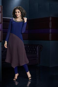 Ink #blue & dark #mauve georgette ethereal #kurti with full sleeves -WKR269 - #Tunics & #Kurtis #indian #fashion #designer #collection #new #stylish #women #ladies #girl #wear #party #design