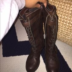 Dark brown boots Barely worn. Size 7.5. Dark brown lace all the way up Shoes Lace Up Boots