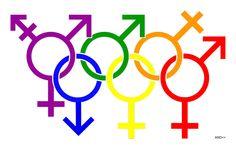 homophobia, Sochi, Olympic games, rings, LGBT, gay pride, male  female symbols, 2014, human rights