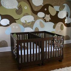 elephant nursery themes | Twin nursery ideas / Brown twin nursery with elephant wall deco