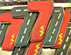 "Love these Cars birthday cookies on etsy...I'm going to do something similar with the number ""3"" and letter ""R"" for favors for my child's birthday."