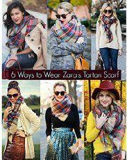 6 ways to wear a blanket scarf: Moxeay® Lady Women Blanket Oversized Tartan Scarf Wrap Shawl Plaid Cozy Checked Pashmina