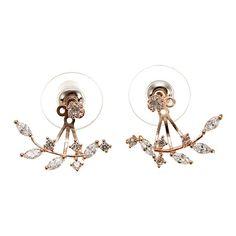 925 Silver Needle Leaves Zircon Crystal Stud Earrings
