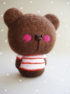 "Needle felted bear  ""Teddy Jr."" / Felt Art Toy bear, The Fabulous Creations of Maria Filipe #needle felt #bear #kawaii"