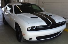 Gloss Black Dual Racing Stripes Installed on a White Dodge Challenger - Racing Racing Stripes