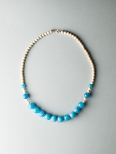 Beige Blue Necklace by Carla Szabo Blue Necklace, Beaded Necklace, Air, The Dreamers, Jewelry Design, Beige, Collection, Beaded Collar, Pearl Necklace