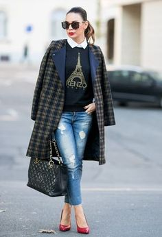 Look by @shinn with #zara #abrigos #tartan #coats #jeans #denim #heels #sudaderas #autumn #winter #chanel #cuadros #red #chaquetas #sweatshirt #plaid #chic #streetstyle #sweaters #vaquero #blue #bags #kenzo #pumps #inverno #azul #cool #oversized #saintlaurent #outfits #poleras #looks #redheels.