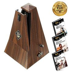 Honiday Mechanical Metronome, Antique Style Metronome for Guitar, Piano, Drums, Violin, Vocal or Any Musical Instrument, Bonus 3 Usefull Ebook and More (Wood Style)  ♫♪➤APPLICABLE FOR MOST MUSIC INSTRUMENTS: Honiday Mechanical Metronome rhythms at a proper pace when practicing piano, violin, guitar, bass, drum and other musical instruments.  ♪♫➤INCREDIBLE FEATURES-Audible click & bell ring to maintain the rhythm while reading music sheet; Wind up mechanism produce metrical beats, no ba...