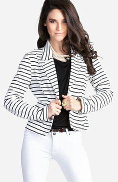 Striped Knit Blazer   DAILYLOOK