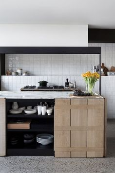 I'm in love with this contemporary barn conversion and the modern rustic kitchen with minimal lines and chunky wooden fronts. Outdoor Kitchen Design, Rustic Kitchen, Kitchen Dining, Kitchen White, Kitchen Island, Contemporary Barn, Kitchen Contemporary, Kitchen Modern, Kitchen Ideas