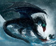 Black Winter Dragon by piyastudios on Etsy, $17.00
