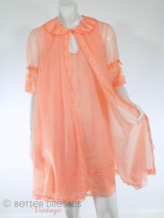 60s Double Nylon Peach Peignoir Set by Vanity Fair - sm