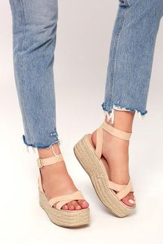 Step into sunny vibes with the Cobi Nude Espadrille Platform Sandals! Soft, vegan suede forms a crossing toe band and matching quarter strap atop a raffia sole. Nude Sandals, Sandals Outfit, Women's Shoes Sandals, Espadrille Sandals, Sandal Wedges, Dr Shoes, Cute Shoes, Platform High Heels, Moda Masculina