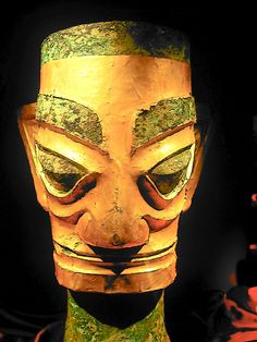The Sanxingdui Museum » A gold-covered bronze mask from the Shang Dynasty